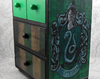 Custom Slytherin Green and Black  Stash Jewelry Box
