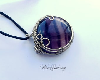 Pendant Fluorite Purple Wire Wrapped Necklace Chakra Jewelry Medallion Double Sided Violet Stone Protection Amulet Talisman Lack Wire Work