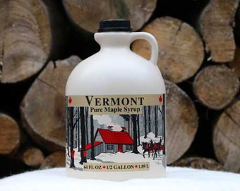 1 Half Gallon Organic Pure Vermont Maple Syrup, Made in Vermont USA, Free Shipping - Jug
