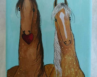 Horses Handpainted on canvas