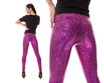 Leggings w. Jeans Back; Holographic Pink, Burning Man Leggings, Dancewear, Stage Wear, Sparkly Leggings, EDC Costume, Glam Rock, LENA QUIST