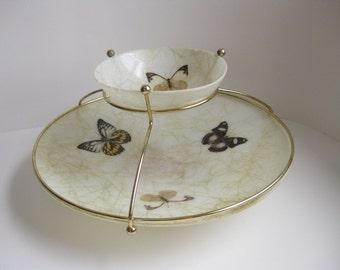 Vintage midcentury fiberglass serving dish 1950s chip and dip set Flying saucer serving dish