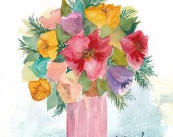Multicolor bouquet - original watercolor painting