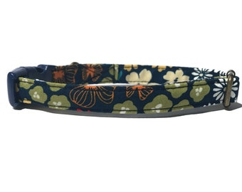 Delpinium - Dark Blue White Yellow Orange Red Abstract Floral Flower Organic Cotton CAT Collar Breakaway Safety - All Antique Metal Hardware