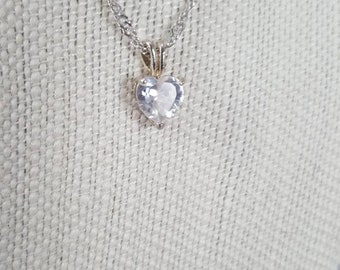 """17"""" silver necklace with heart pendant."""