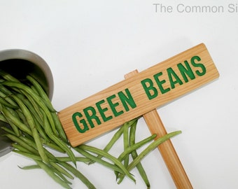 GREEN BEANS Garden Marker, BEANS Garden Sign, Painted & Oil Sealed Cedar Wood: Hand Routed Sign, Custom Garden Sign, Personalized Marker