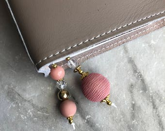 BEADED BOOKMARK for Travelers Notebooks | Planners | Journals | Books PEACH with crystal and gold accents