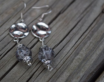 Metal rounds and glass bead earrings