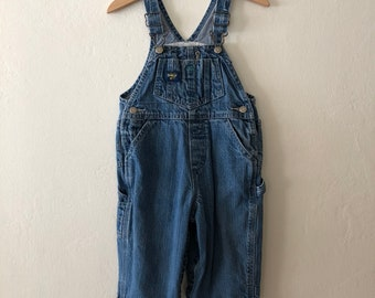 Vintage Toddler OshKosh B'Gosh Denim Overalls, Kids Oshkosh Bib Overalls Size 18 Months