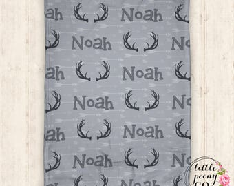 Personalized Baby Blanket - Baby Blanket - Personalized Baby Blanket - Antlers - Hunting Baby Blanket - Throw Blanket - Personalized Gifts