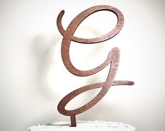 Wooden Wedding Cake Topper: Letter G, Monogram Cake Topper, Rustic Cake Topper, Handmade Cake Topper