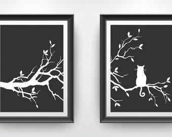 Cat Tree Wall Art Print Set of 2 Prints - Charcoal Black