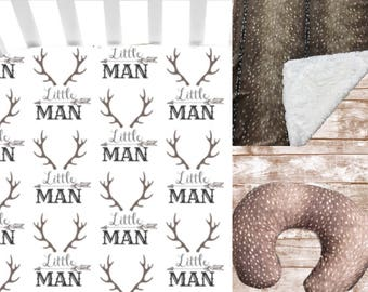 Little Man Antler Bedding Set// Axis Hide Crib Bedding Set