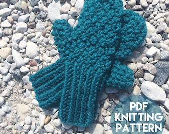 Instant Download Knitting Pattern - Knit Mitten Pattern - Mitten Knitting Pattern - Chunky Mittens Pattern Unisex Knitting Pattern
