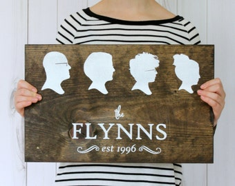 Personalized Custom Family Silhouette Name Wood Sign - Family Portrait, Christmas Gift Idea for Mom, Grandmother