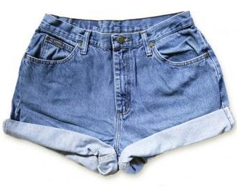Vintage 90s Lee Medium Blue Wash High Waisted Rise Cut Offs Cuffed Rolled Jean Denim Shorts – Size 31