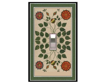 1735X - Folk Art Flowers - mrs butler switch plate covers - choose sizes / prices from drop down box
