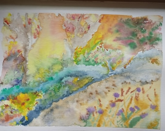 A colourful abstract river, flowers and trees in watercolours. Inspired by welsh landscape.