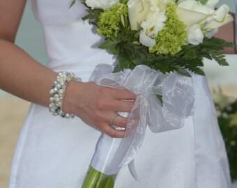 TOUCH of SOMETHING Dusty Powder Blue, Bridal Bracelet, Pearl Crystal Cuff, Light  Sapphire, Periwinkle, Carolina, Hand Knit, Sereba Designs