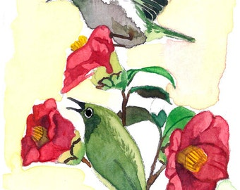 ACEO Limited Edition- Camelia love, in watercolor