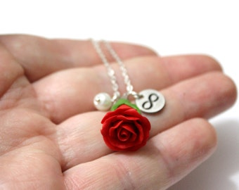 Rosebud Infinity Necklace - Red Rose Necklace, Flower Jewelry, Infinity Necklace,  Rose Charm, Bridesmaid Necklace,  Red Bridesmaid Jewelry