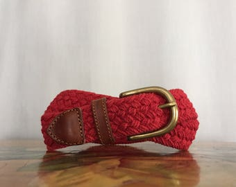 Red Belt Woven Brown Leather Strap Vintage Fossil size Medium