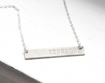 Signature Silver Bar Necklace, Personalized Necklace, Silver Bar Necklace, Custom Name Necklace, Personalized Jewelry,