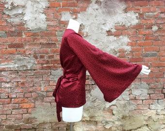Burgundy Silk wrap tunic with circle print and kimono sleeve Size 14-16
