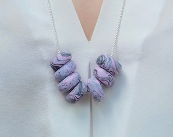 Polymer clay statement necklace/ pink & grey marble beads on silver-plated chain/ unique jewellery/ gift for her/ beaded necklace