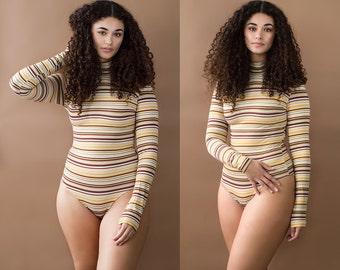 Sunny Side Up Striped Turtleneck Long Sleeve Bodysuit XS S M L XL XXL