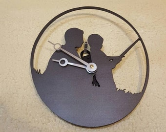 Wall clock, father & son fishing clock, steel wall clock,