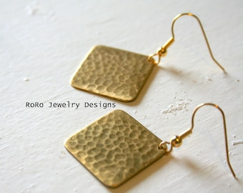 Square Hammered Brass Earrings