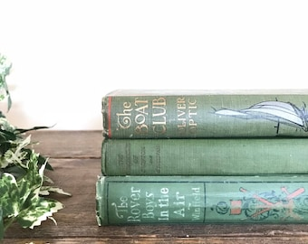 Vintage Book Stack (3) / Antique Book Bundle / Instant Library / Green Books