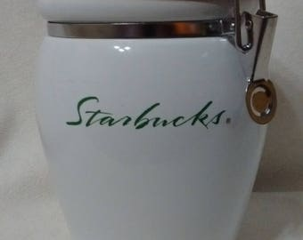 Starbucks White Ceramic Coffee Canister w/Green Script