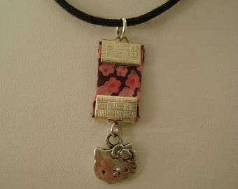 Pink liberty pendant necklace with cat head