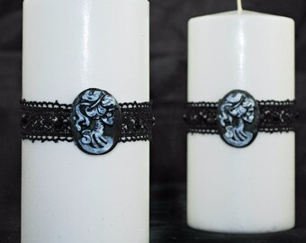 Gothic Style Pillar Candle - White - Unscented -  3x6 - La Muerte - Gothic Home Decor - Gifts under 20 - Gothic Gifts -
