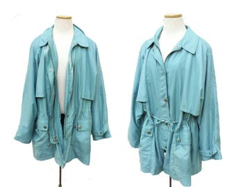 Vintage London Fog Sporty Military Style Parka Jacket Drawstring Pockets Womens Outerwear Lightweight Coat size Large