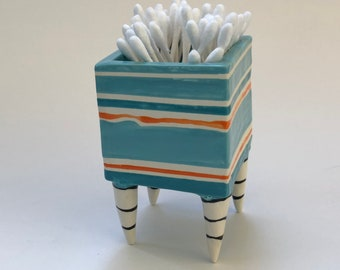 whimsical Pottery Dish :) Alice in Wonderland Turquoise & bright orange stripes Beetlejuice legs