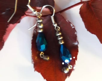 Metallic Blue Chandelier Earrings