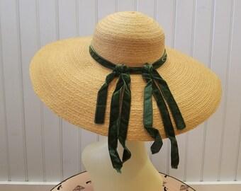 Vintage Natural Straw Picture Hat with Green Velvet Detail, Bonwitt Teller, ca 1950s