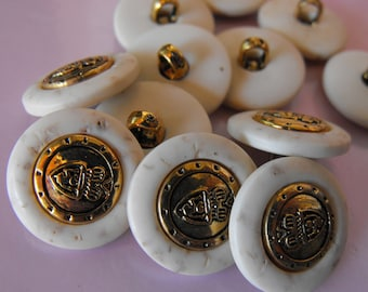12 Aged Gold with White Shank Buttons Size 11/16""