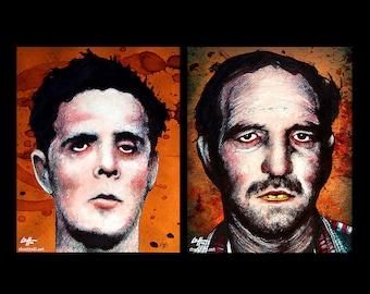 "Prints 8x10"" - Henry Lee Lucas and Ottis Toole - Dark Art Horror Serial Killers Death True Crime Scary Murder Gothic Mustache Jail Pop Art"