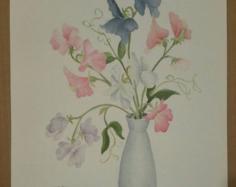 Vintage watercolor of sweet pea blossoms