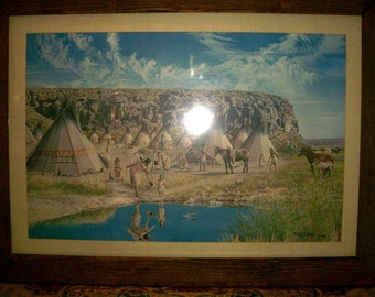 Ray Eyerly's Indian Village Print Signed and Dated