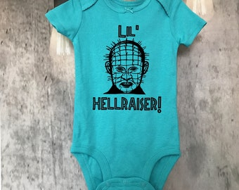 Lil Hellraiser Pinhead bodysuit - horror kid - funny  - gift - scary  -halloween - cult classic -movies - baby