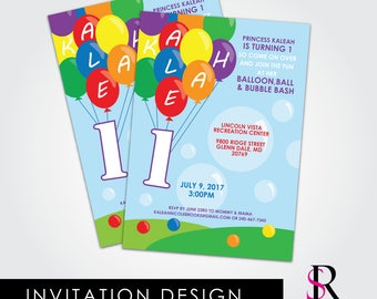 Balloon Birthday Invitation, First Birthday Invitation