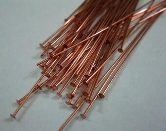 50 COPPER HEADPINS 24 gauge,  3 inch length Bright Copper