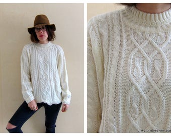 Fishermans Sweater | Oversized White Sweater | Vintage 80s Chunky Knit Pullover | Cable Knit Womens Large