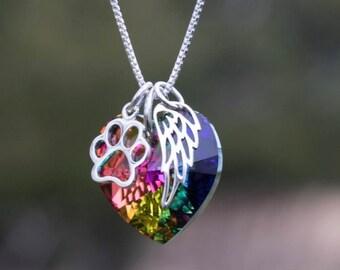 Rainbow bridge pet loss necklace - Pet Loss- Pet Loss Gift -  pet memorial - pet loss jewelry - memorial gift - Loss of Pet - Fur baby gift