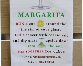 Tea Towel - MARGARITA Cocktail Recipe - Great Margarita Gift Idea - Kitchen Towel or Bar Towel